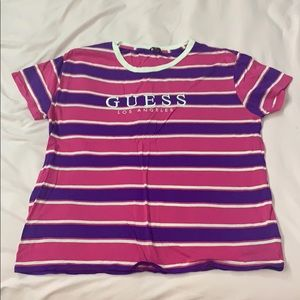 embroidered striped guess shirt